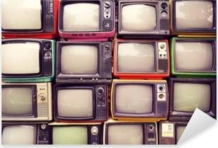 Pixerstick Sticker Patroon muur van stapel kleurrijke retro televisie (tv) - vintage filter effect stijl.