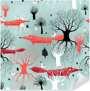 pattern trees and foxes Pixerstick Sticker