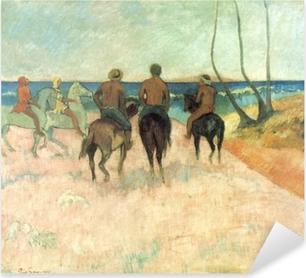 Sticker Pixerstick Paul Gauguin - Cavaliers sur la plage