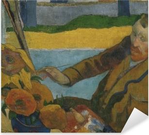 Sticker Pixerstick Paul Gauguin - Van Gogh peignant « Tournesols »