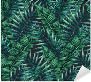 Sticker Pixerstick Paume tropical Aquarelle feuilles seamless pattern. Vector illustration.