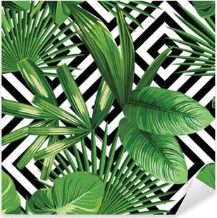 Sticker Pixerstick Paume tropical feuilles modèle, fond géométrique