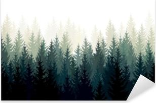 Sticker Pixerstick Paysage de vecteur avec des silhouettes vertes de conifères dans la brume