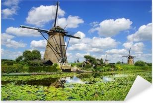 Sticker Pixerstick Paysage pittoresque avec des moulins à vent. Kinderdijk