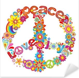 Pixerstick Sticker Peace bloem symbool met hippie symbolische
