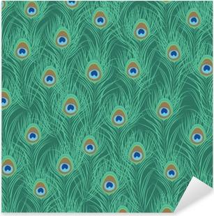 Peacock feather seamless pattern. Vector illustration Pixerstick Sticker