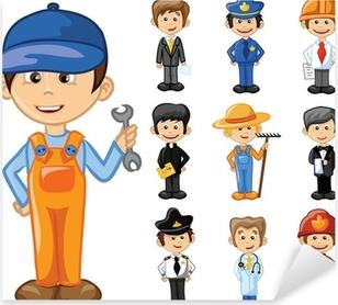 Sticker Pixerstick Personnages de dessins animés de différentes professions
