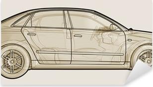 Pixerstick Sticker Perspectief schetsmatig illustratie van een Audi A4.
