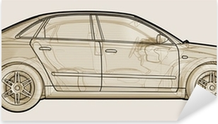 Perspective sketchy illustration of an Audi A4. Pixerstick Sticker