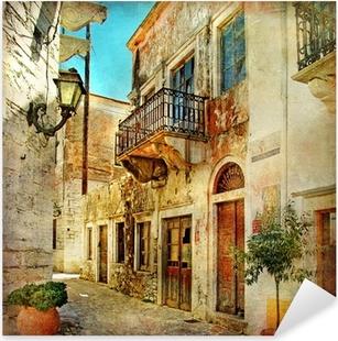pictorial old streets of Greece Pixerstick Sticker