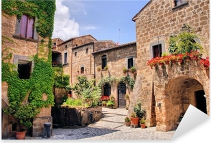 Picturesque corner of a quaint hill town in Italy Pixerstick Sticker