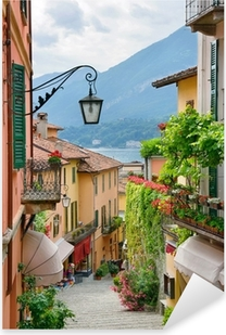 Picturesque small town street view in Lake Como Italy Pixerstick Sticker