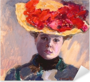 Pierre Bonnard - Girl in Straw Hat Pixerstick Sticker