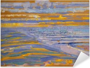 Pixerstick Sticker Piet Mondriaan - Gezicht op strand en pier vanaf de duinen, Domburg