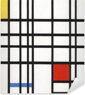 Sticker Pixerstick Piet Mondrian - Composition avec jaune, bleu et rouge