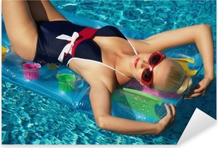 Pin up girl in the swimming pool Pixerstick Sticker