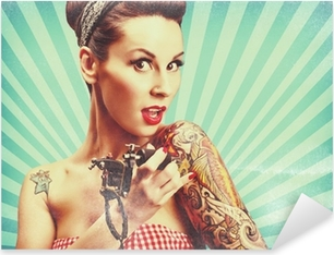 Pin-Up girl with tattoos Pixerstick Sticker