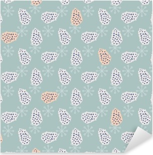 Pinecone seamless vector pattern. Blue pine scrapbook paper design. Blue background. Pixerstick Sticker