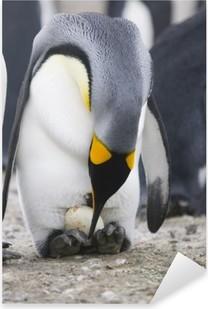 Sticker Pixerstick Pingouin avec l'oeuf