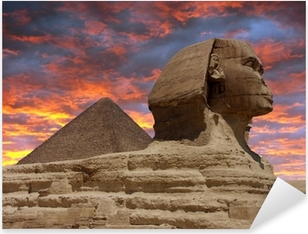 Pixerstick Sticker Piramide en de Sfinx van Gizeh, Caïro