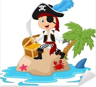 Pirate in the treasure island Pixerstick Sticker