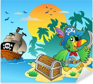 Pirate parrot and chest on island Pixerstick Sticker