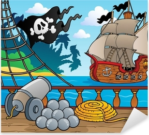 Pirate ship deck theme 4 Pixerstick Sticker