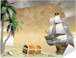 Pirate ship finding treasure - 3D render Pixerstick Sticker