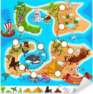 Pirate Treasure Map Pixerstick Sticker