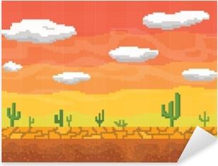 Pixerstick Sticker Pixel kunst woestijn naadloze achtergrond.
