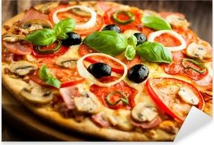 Pixerstick Sticker Pizza met champignons, salami en Chili Pepper