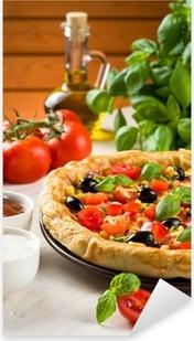 Pizza on wooden table Pixerstick Sticker