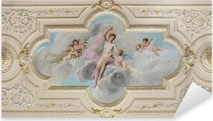 Pixerstick Sticker Plafondschildering met een afbeelding van een vrouw en engeltjes