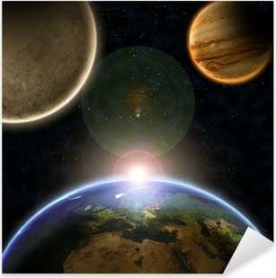 Planets with sunrise in the space Pixerstick Sticker