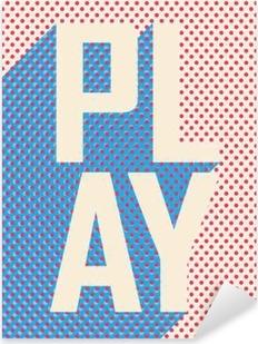 Play word cloud on a retro background. Pixerstick Sticker