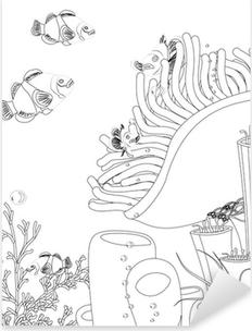 Sticker Pixerstick Poissons clown avec les coraux. livre de coloriage