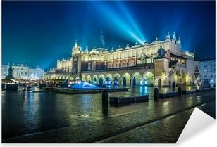 Poland, Krakow. Market Square at night. Pixerstick Sticker