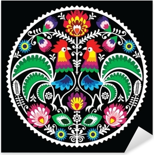 Polish floral embroidery with roosters - traditional folk Pixerstick Sticker