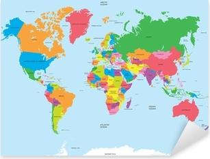 Political map of the world vector Pixerstick Sticker