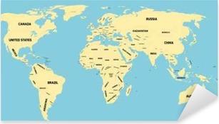 Pixerstick Sticker Politieke kaart van de wereld