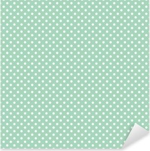 Polka dots on fresh mint background seamless vector pattern Pixerstick Sticker