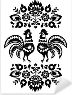 Sticker Pixerstick Polonais broderie florale ethnique avec des coqs en noir et blanc