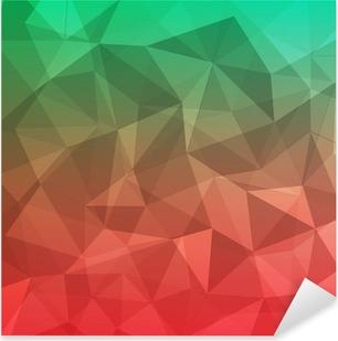 Sticker Pixerstick Polygone géométrique abstrait rouge et vert