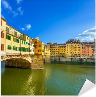 Pixerstick Sticker Ponte Vecchio op zonsondergang, oude brug, Florence. Toscane, Italië.
