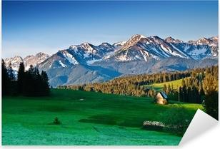 Pixerstick Sticker Poolse Tatra gebergte panoram in de ochtend