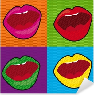 pop art mouth Pixerstick Sticker
