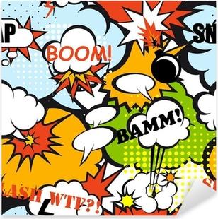 Pop art seamless pattern Pixerstick Sticker