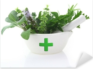 Porcelain mortar with pharmacy cross and fresh herbs Pixerstick Sticker
