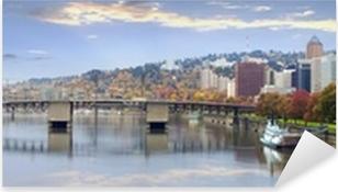 Portland Oregon Downtown Skyline and Bridges Pixerstick Sticker