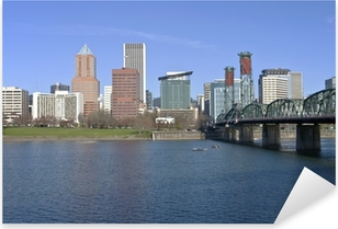 Portland Oregon skyline and river. Pixerstick Sticker